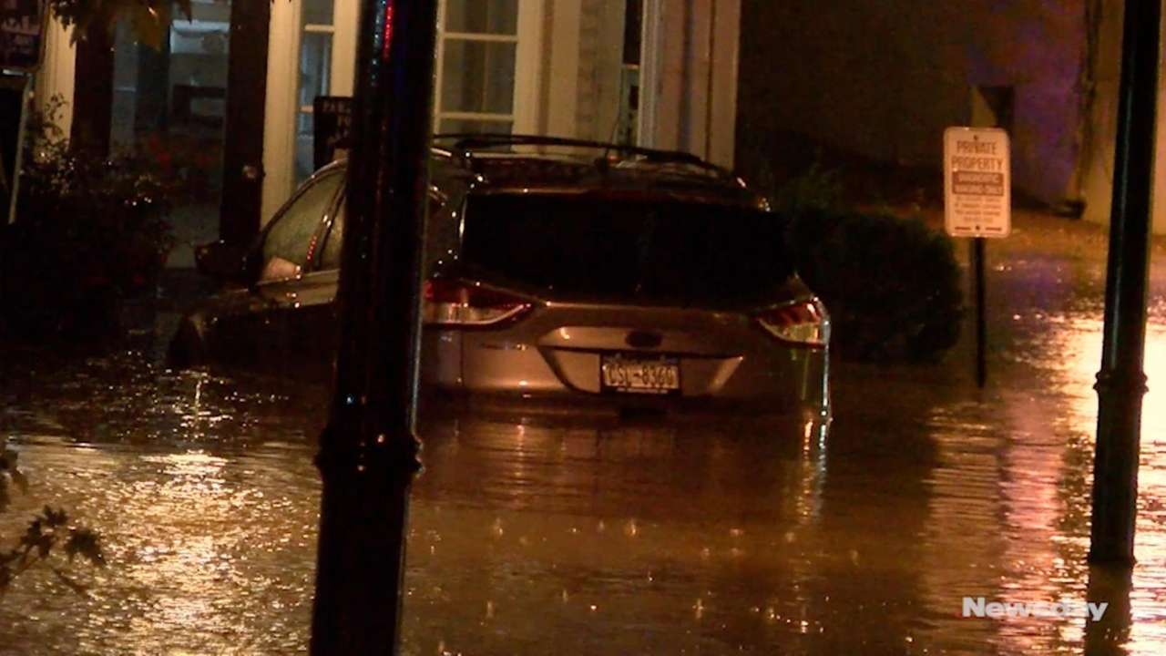Torrential rainstorms caused problems in Port Jefferson Tuesday night,