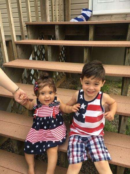 Carter and Anastasia celebrating 4 th of July
