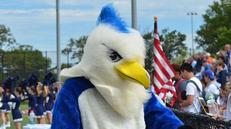 St. Dominic High School's mascot, the Bayhawk, pumps