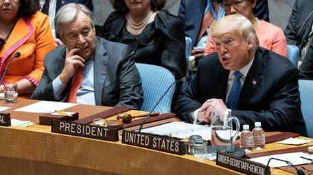 President Donald Trump addresses the UN Security Council