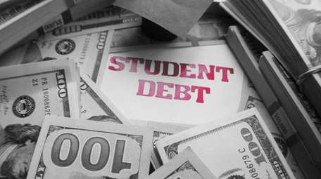 Stock image of student debt.