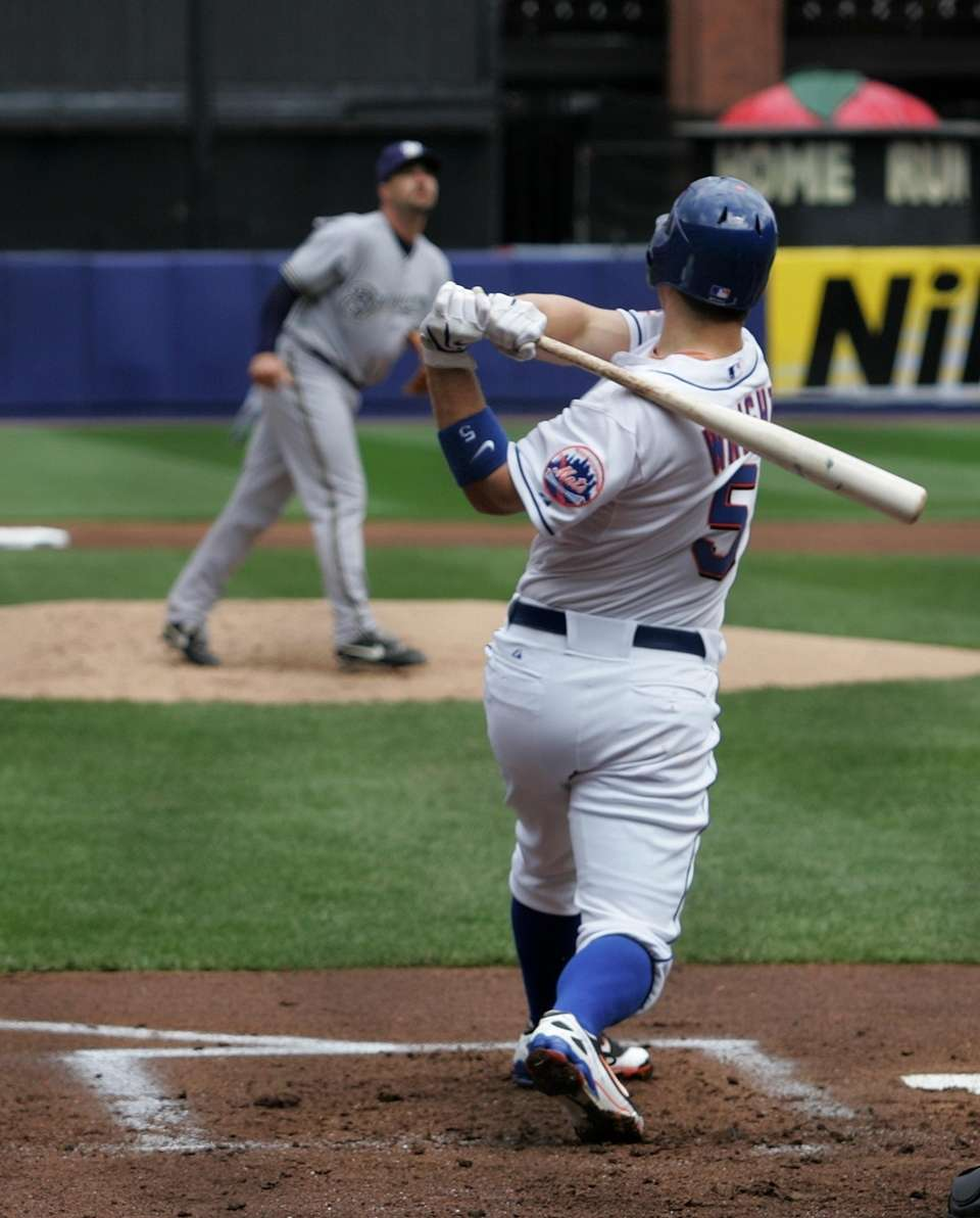 Mets third baseman David Wright hits his 100th