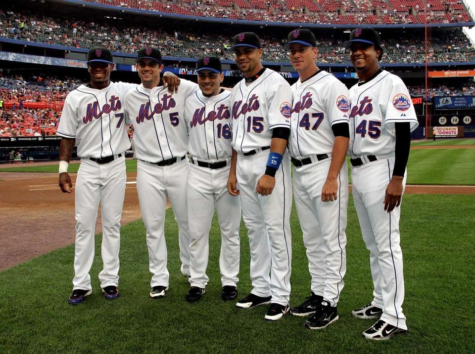 From left, Mets players Jose Reyes, David Wright,