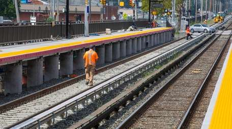 The LIRR's new second track is seen in
