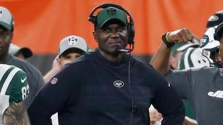 Jets coach Todd Bowles watches during the first