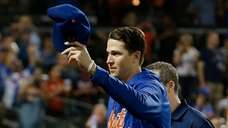 Jacob deGrom of the Mets acknowledges the fans