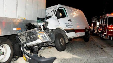 A Mercedes-Benz van crashed into the rear of