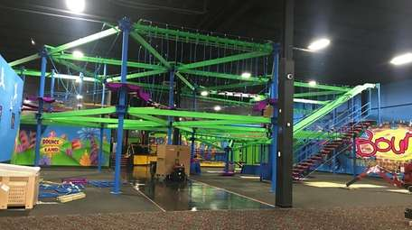 The Adventure Zone under construction at Bounce! Trampoline