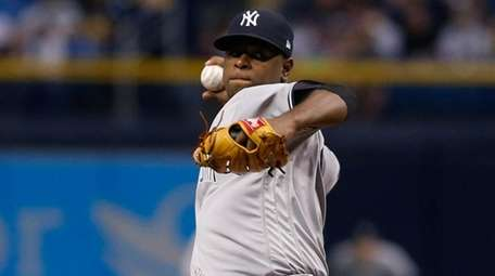 Luis Severino of the Yankees pitches during the