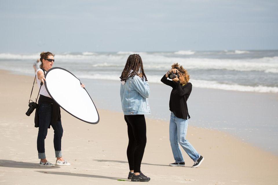 Eastern Suffolk BOCES photography instructor Elizabeth Grafer holds