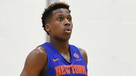 Knicks guard Frank Ntilikina takes a breath before