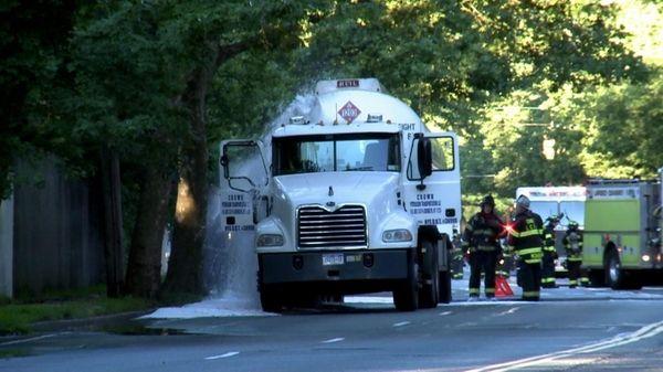 A leaking gas tanker in a Woodmere neighborhood