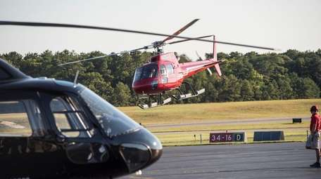 Helicopters, seen at the East Hampton Town Airport
