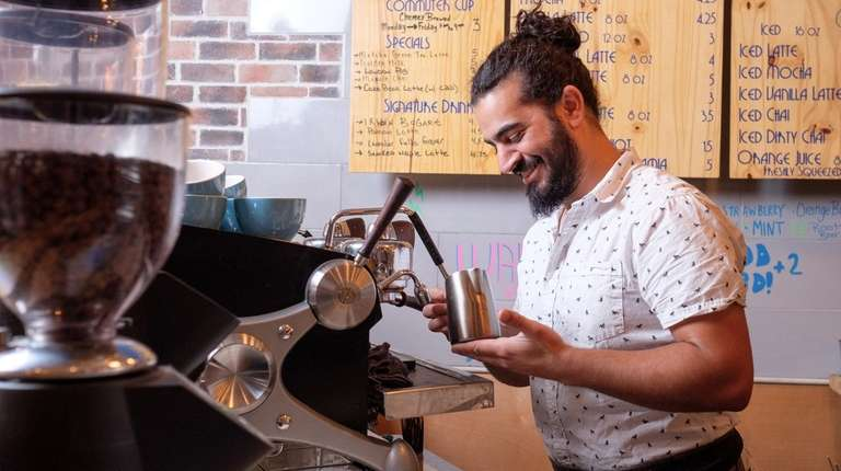 Arsalan Pourmand, owner of Flux Coffee in Farmingdale,