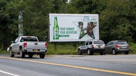 A billboard on Eastport-South Manor Road in Eastport