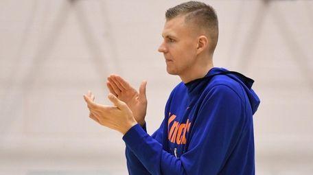 Knicks forward/center Kristaps Porzingis at the end of