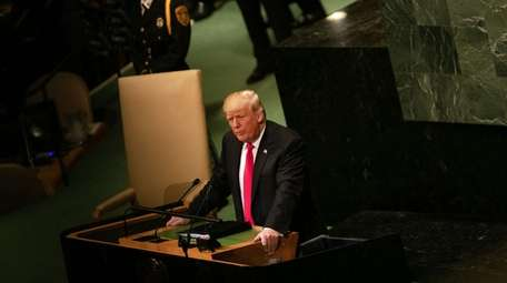 President Trump speaks during the UN General Assembly