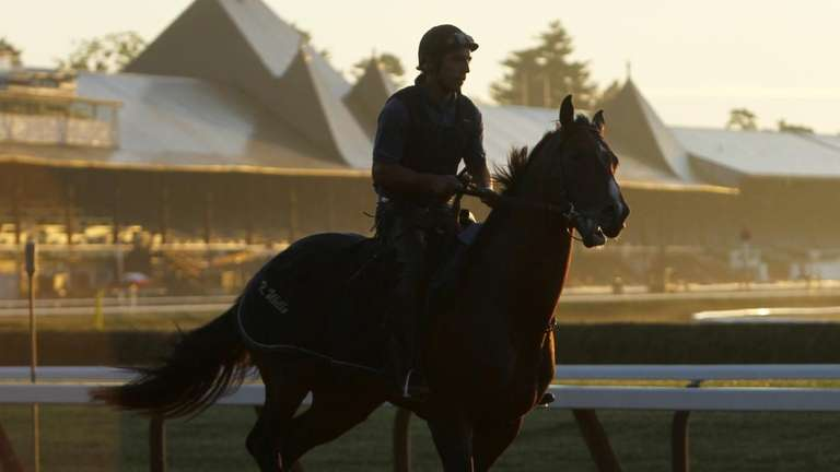 An exercise rider works a horse at Saratoga