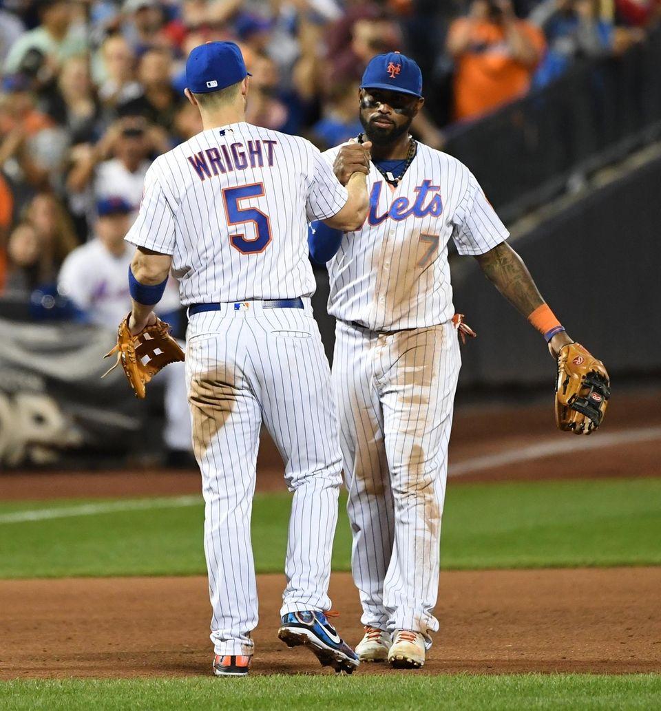 New York Mets shortstop Jose Reyes greets Mets