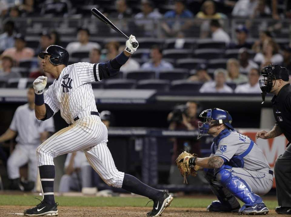 New York Yankees' Alex Rodriguez follows through on