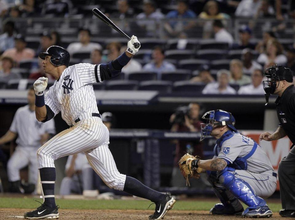 New York Yankees' Alex Rodriguez follows through on