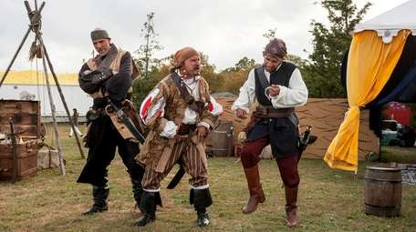 Costumed pirates stay in character during interactive shows