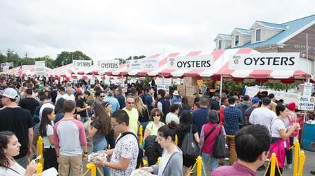 The cash-only food court booths attract big crowds