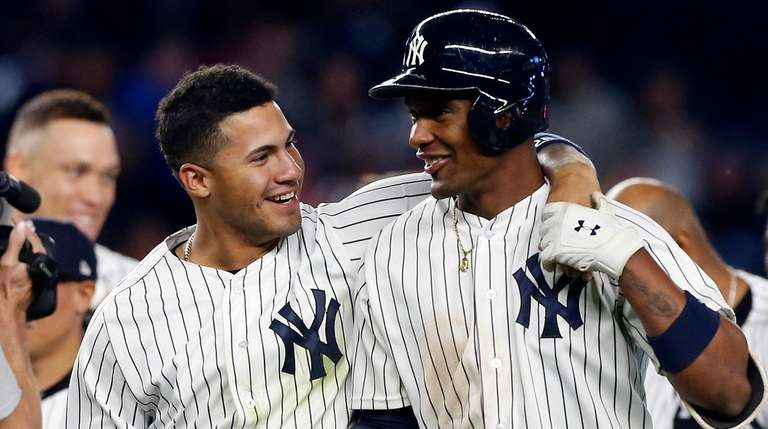 Gleyber Torres, left, and Miguel Andujar of the