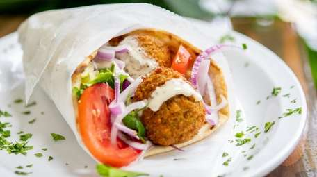 The falafel sandwhich comes on a pita with