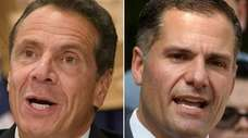 Democratic Gov. Andrew M. Cuomo, left, and Republican