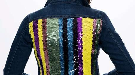 A denim jacket has multicolor sequin stripes on