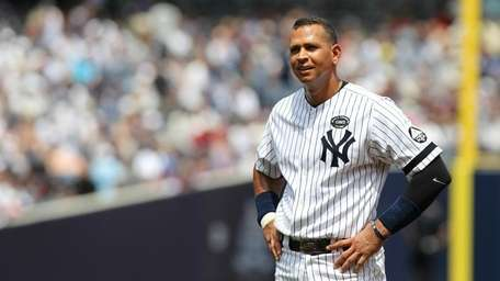 Alex Rodriguez of the New York Yankees smiles