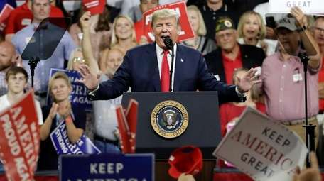 President Donald Trump speaks at a rally on