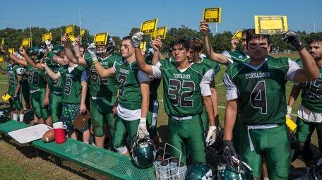 Members of Harborfields High School's varsity football team