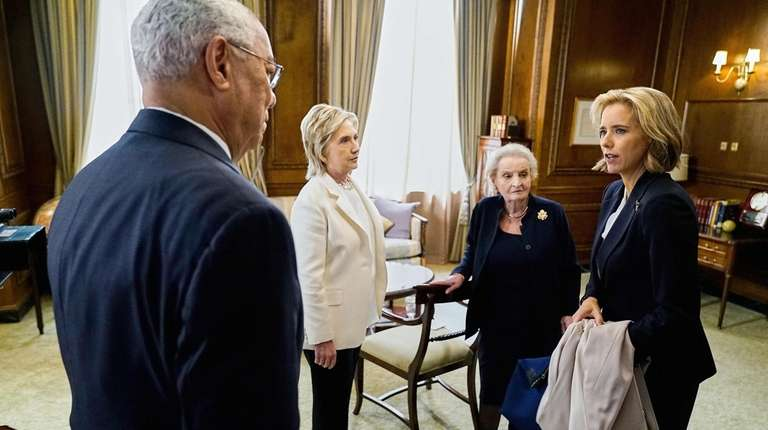 Former Secretaries of State Colin Powell, Hillary Clintonl