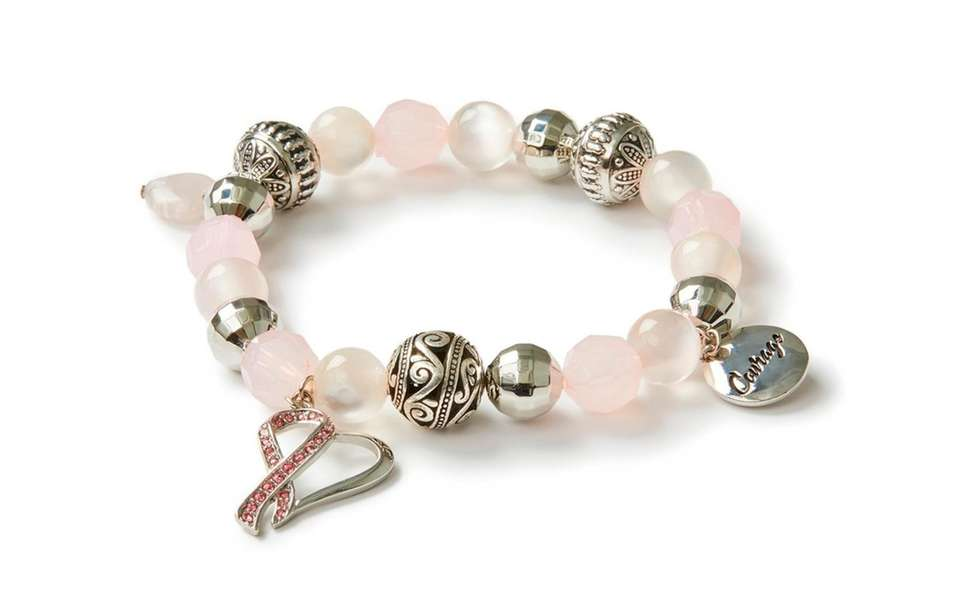 This pink ribbon charm bracelet is a modest