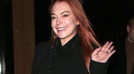 Lindsay Lohan at a London Fashion Week party