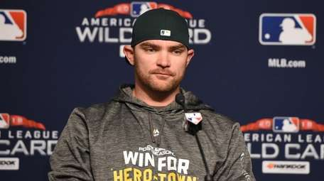 Liam Hendriks of the Oakland Athletics speaks during