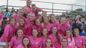 Members of the Hauppauge girls soccer team pose
