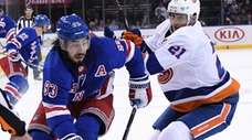 Rangers center Mika Zibanejad skates against Islanders defenseman