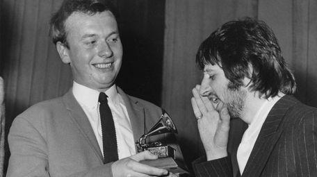 Ringo Starr congratulates EMI recording studio audio engineer