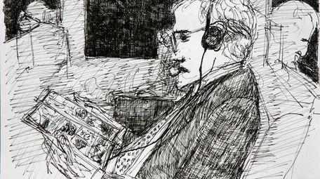 """Sketch: Man on Train Reading a Comic Book"