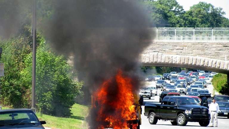 A school bus caught fire on the Northern