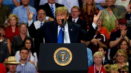President Donald Trump speaks at a rally at