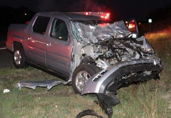 A multicar collision involving this silver truck occurred