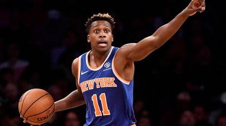 Frank Ntilikina of the Knicks handles the ball