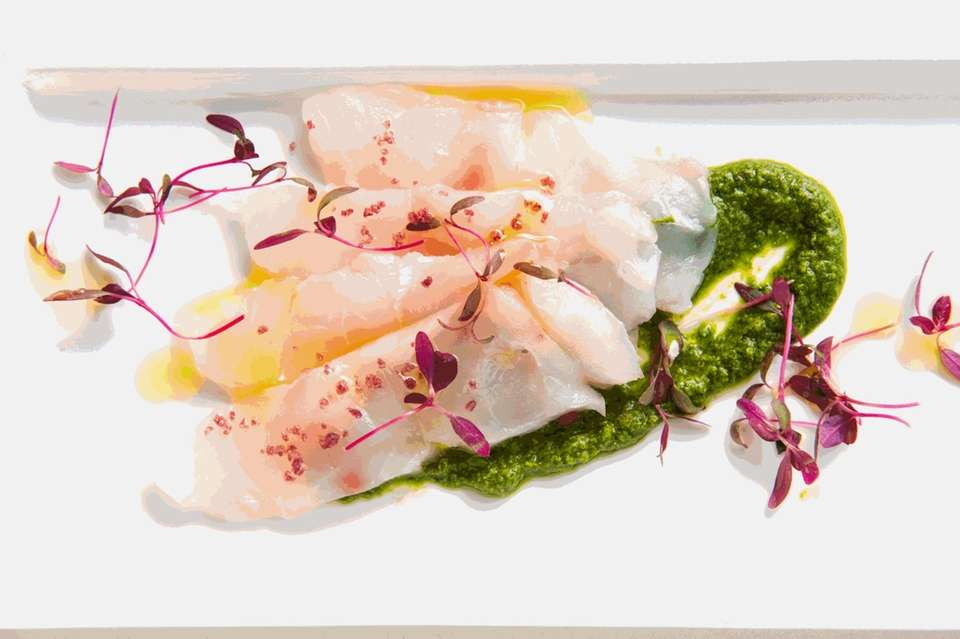 Striped bass crudo with salsa verde is a