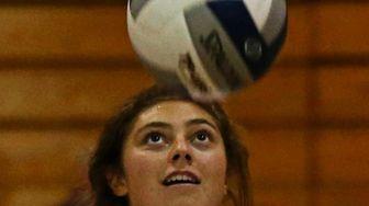 Grace Rosenberg #8 of Long Beach serves to