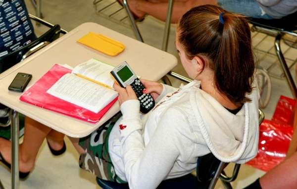 Students take a math test at North Country