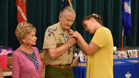 Ellie Preece pins the Boy Scouts of America's